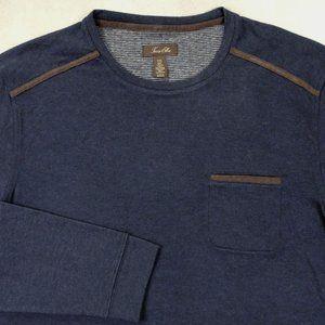 Tasso Elba Mens Shirt XXL 2XL Faux Suede Trim Knit